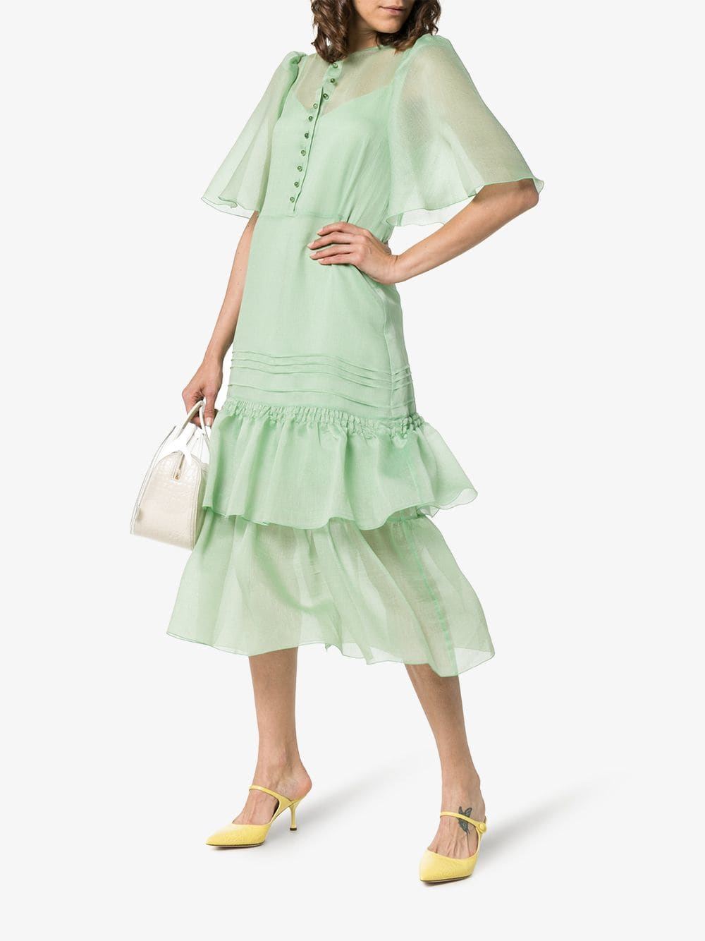 SEE BY CHLOÉ Fluted-Sleeve Tiered Midi Green Dress