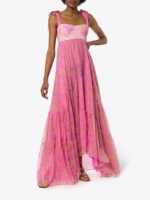 SILVIA TCHERASSI Dancing Floral Print Sleeveless Silk Blend Empire Pink Dress