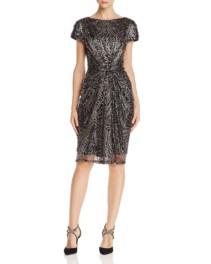 TADASHI SHOJI Ruched Sequined Copper / Black Dress