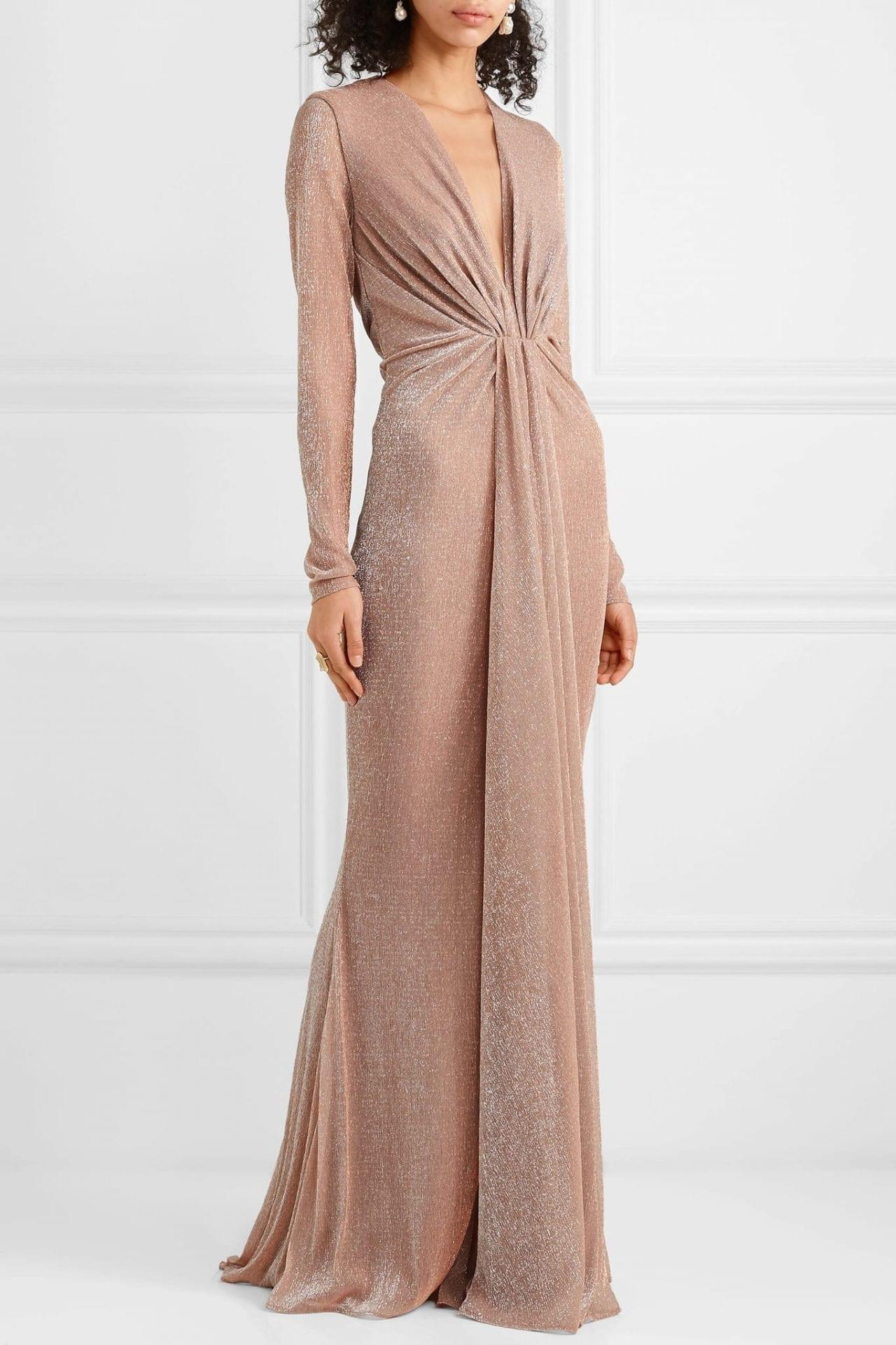 TALBOT RUNHOF Ruched Lurex Beige Gown