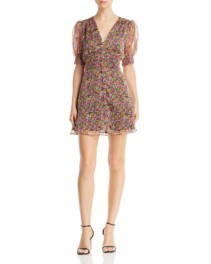 THE EAST ORDER Freya Puff-Sleeve Mini Floral Printed Dress