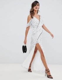 THE JETSET DIARIES Zoey Multi Spot Ruffle Maxi White Dress