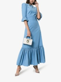 THE VAMPIRE'S WIFE Festival Ruffle-trim Maxi Blue Dress