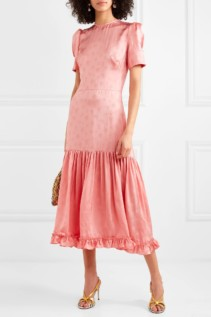 THE VAMPIRE'S WIFE Hummingbird Ruffled Satin-Jacquard Midi Pink Dress
