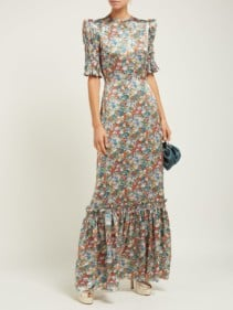 THE VAMPIRE'S WIFE No.11 Floral-Print Silk-Satin Maxi Dress