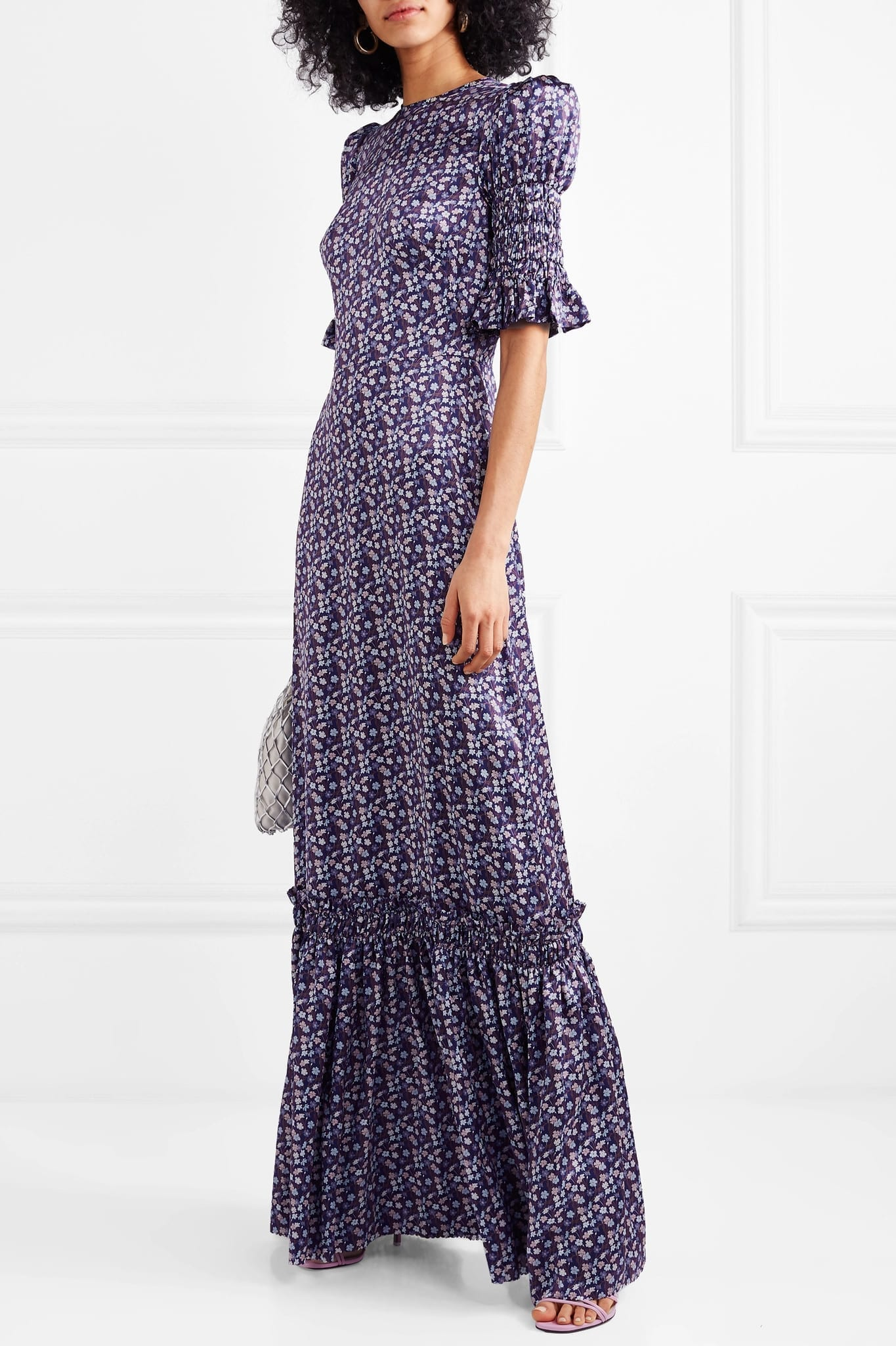 THE VAMPIRE'S WIFE Ruffled Floral-Print Silk-Satin Maxi Purple Dress