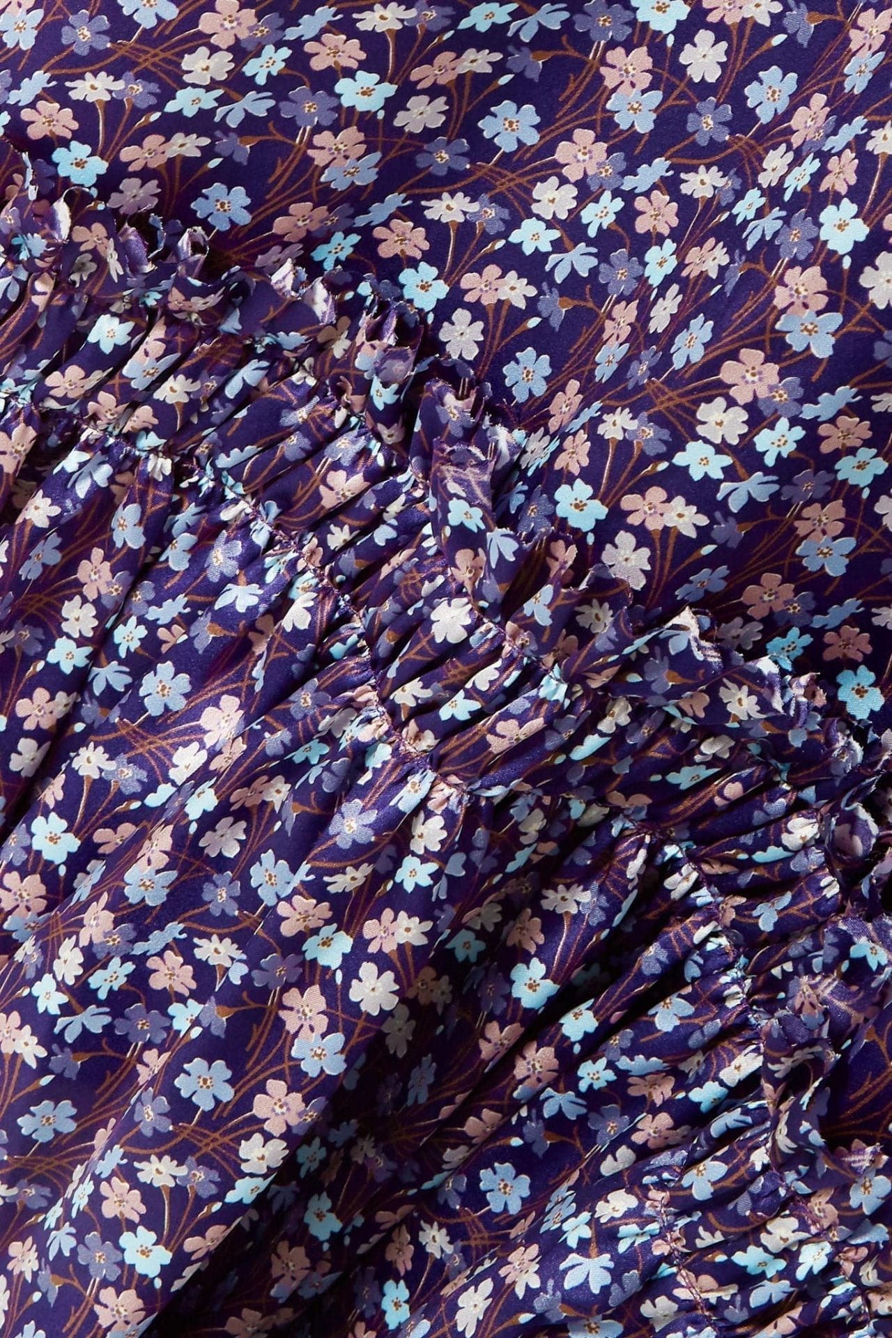 THE VAMPIRE'S WIFE Ruffled Floral-Print Silk-Satin Maxi Purple Dress
