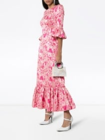 THE VAMPIRE'S WIFE The Juno Floral Print Silk Pink Dress