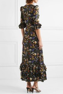 THE VAMPIRE'S WIFE The Royal Cinderella Ruffled Floral-Print Silk-Satin Maxi Black Dress