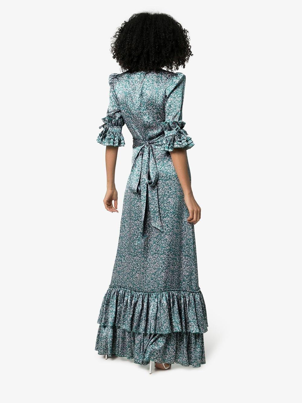 THE VAMPIRE'S WIFE Veneration Leaf-Print Silk Green Dress