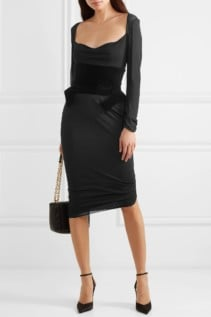 TOM FORD Belted Crepe And Velvet Midi Black Dress