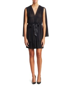 TRE BY NATALIE RATABESI The Lido Pleated Chiffon Mini Black Dress