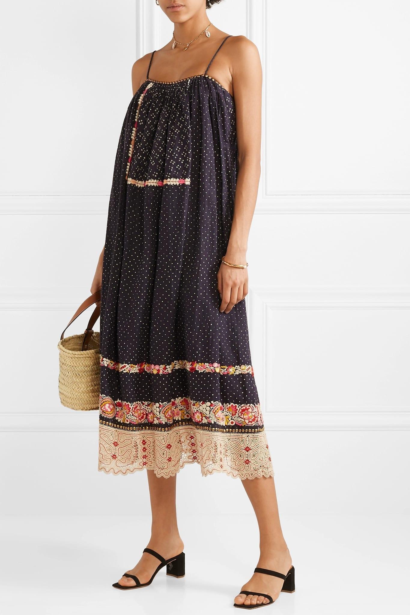 ULLA JOHNSON Nara Studded Embroidered Linen And Cotton-Blend Navy Dress