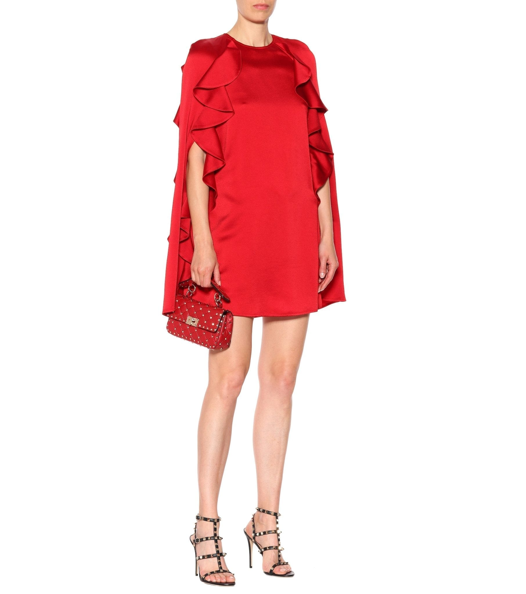 VALENTINO Crêpe Cape Red Dress
