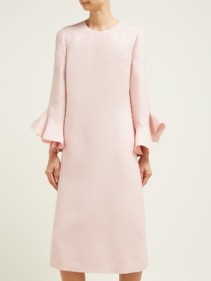 VALENTINO Fluted Wool And Silk-bend Midi Pink Dress
