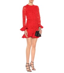 VALENTINO Lace Flounce Red Dress