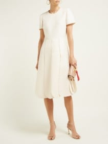 VALENTINO Overlap-Pleat Wool-Blend Ivory Dress