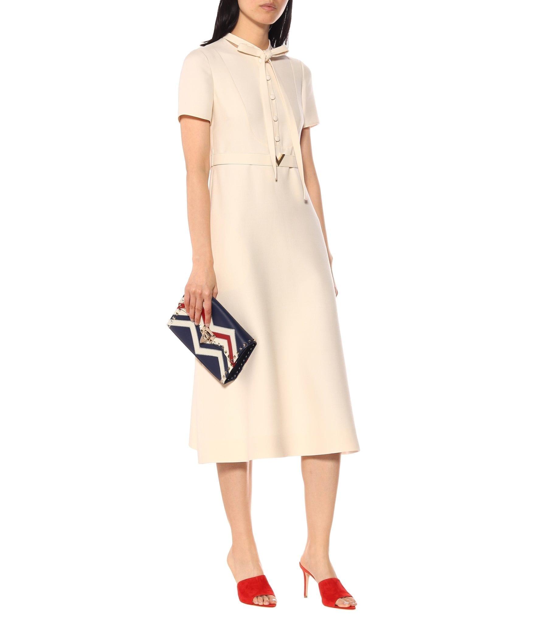 VALENTINO Wool And Silk Midi Cream Dress