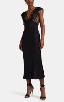 VICTORIA BECKHAM Lace-Detailed Midi Black Dress