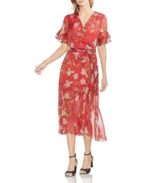 VINCE CAMUTO Wildflower Faux-Wrap Coral / Floral Printed Dress