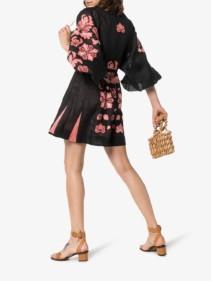 VITA KIN Forest Clover Linen Mini Black Dress
