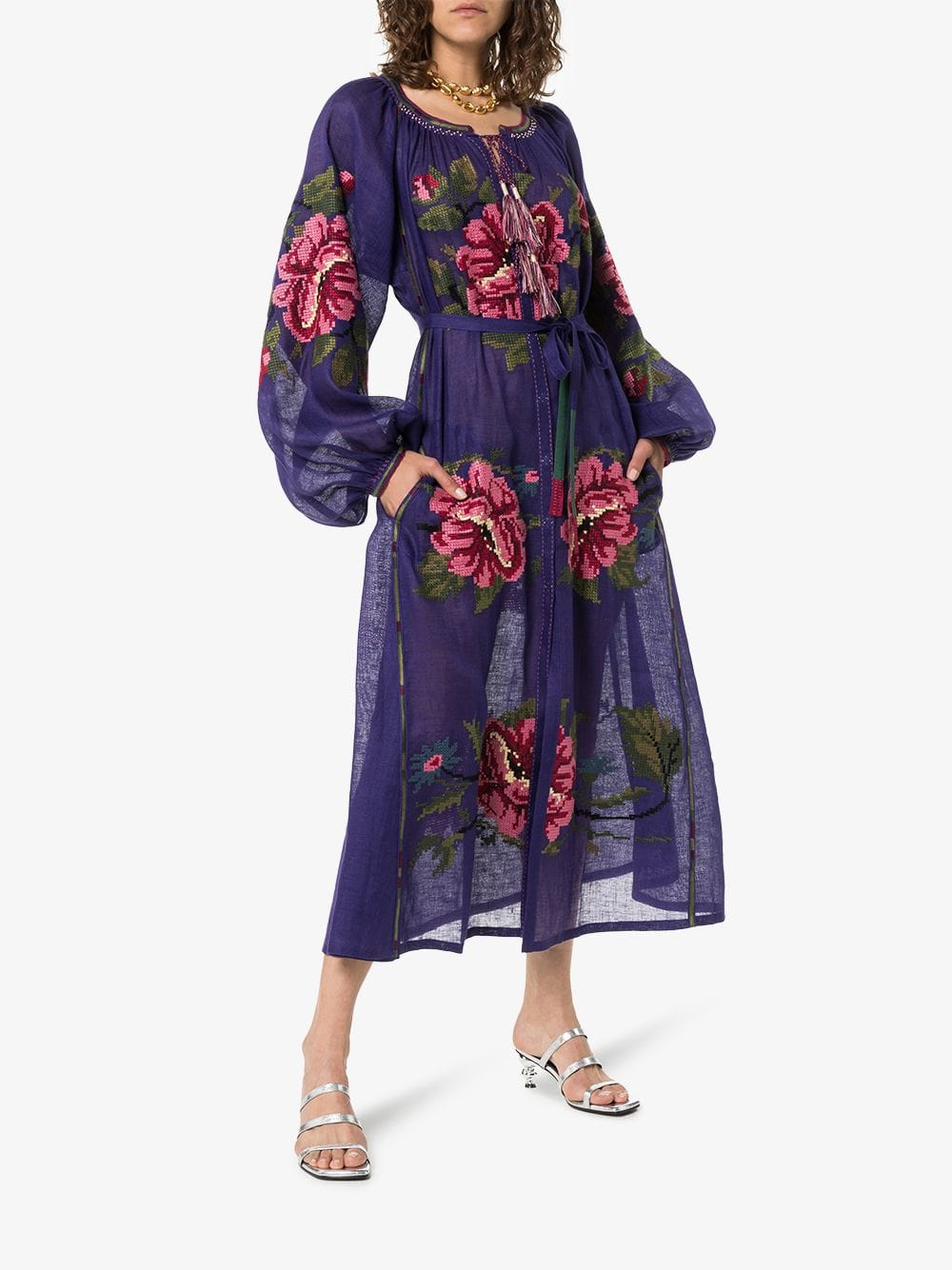 VITA KIN Gypsy Queen Linen Midi Navy Dress