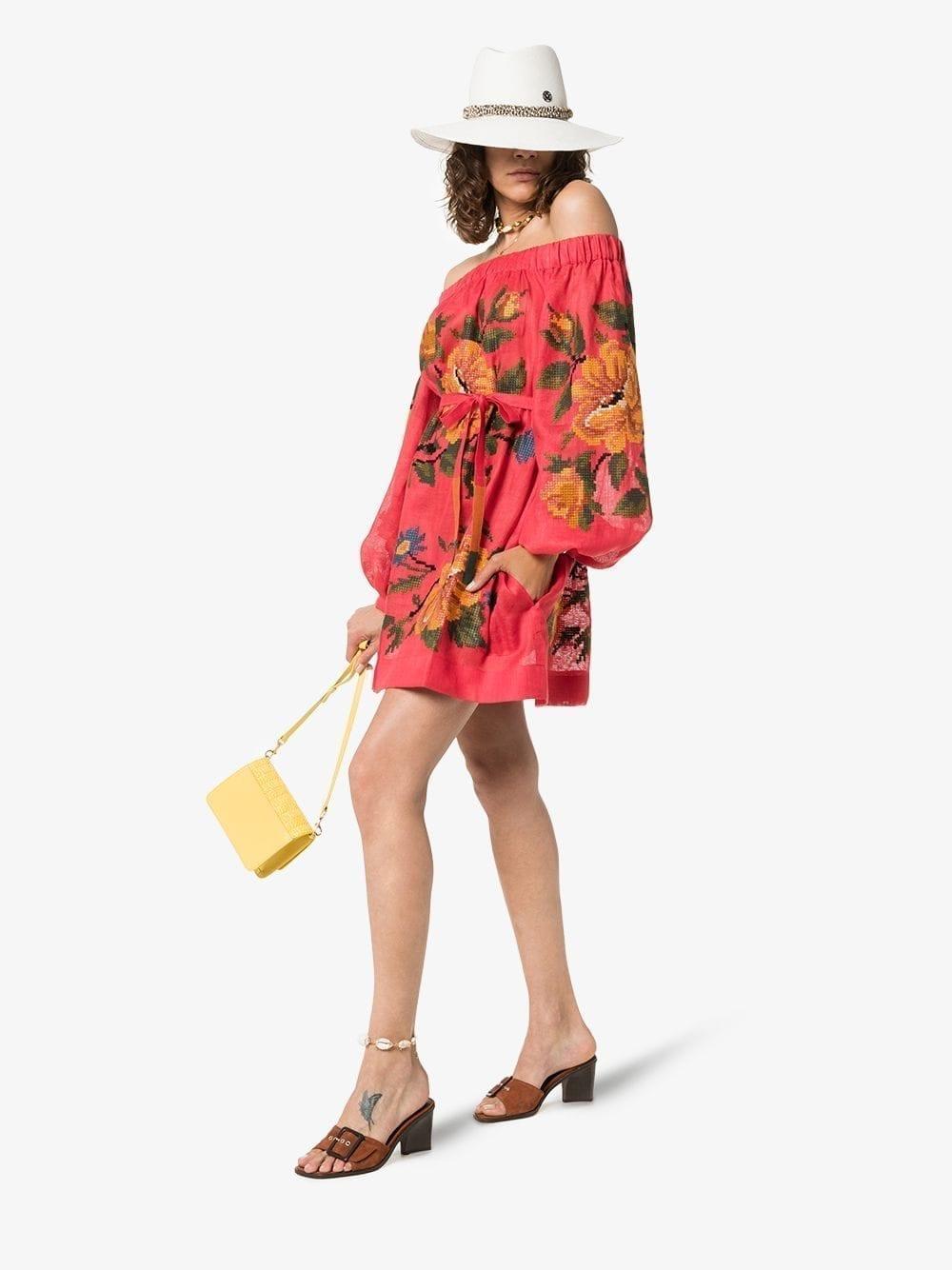 VITA KIN Gypsy Queen Linen Off-the-shoulder Red Dress