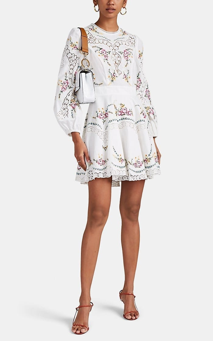 ZIMMERMANN Allia Floral-Embroidered Linen-Cotton Mini White Dress
