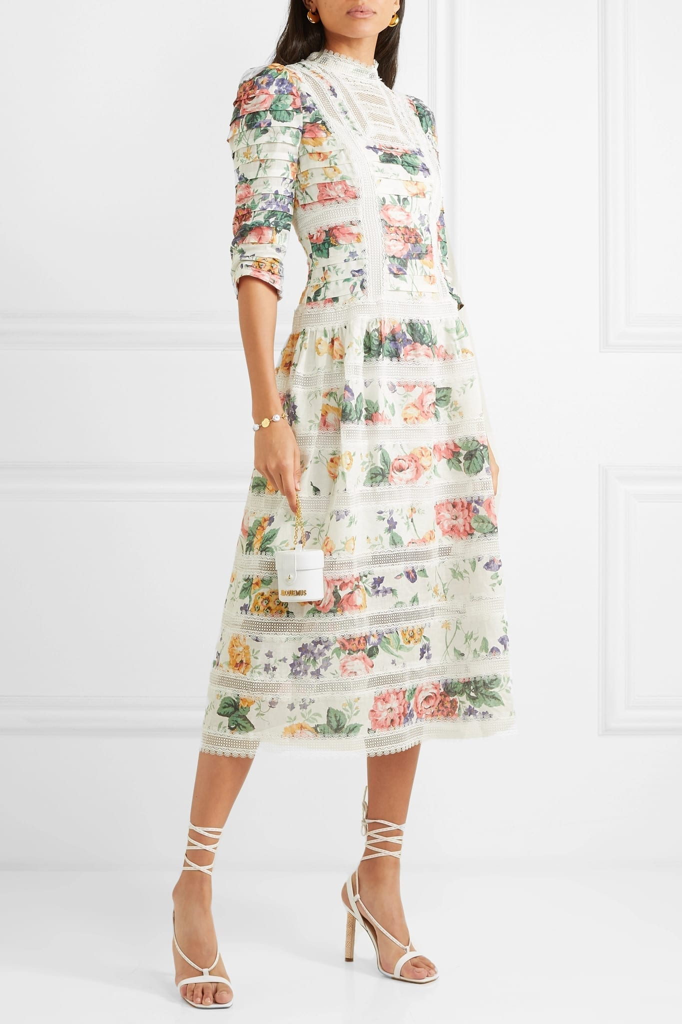 ZIMMERMANN Allia Pintucked Lace-Paneled Floral-Print Linen White Dress