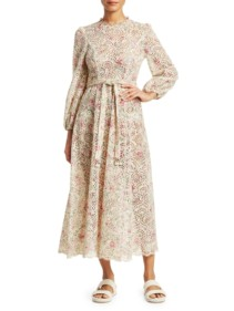 ZIMMERMANN Honour Highneck Cotton Cream / Floral Printed Dress