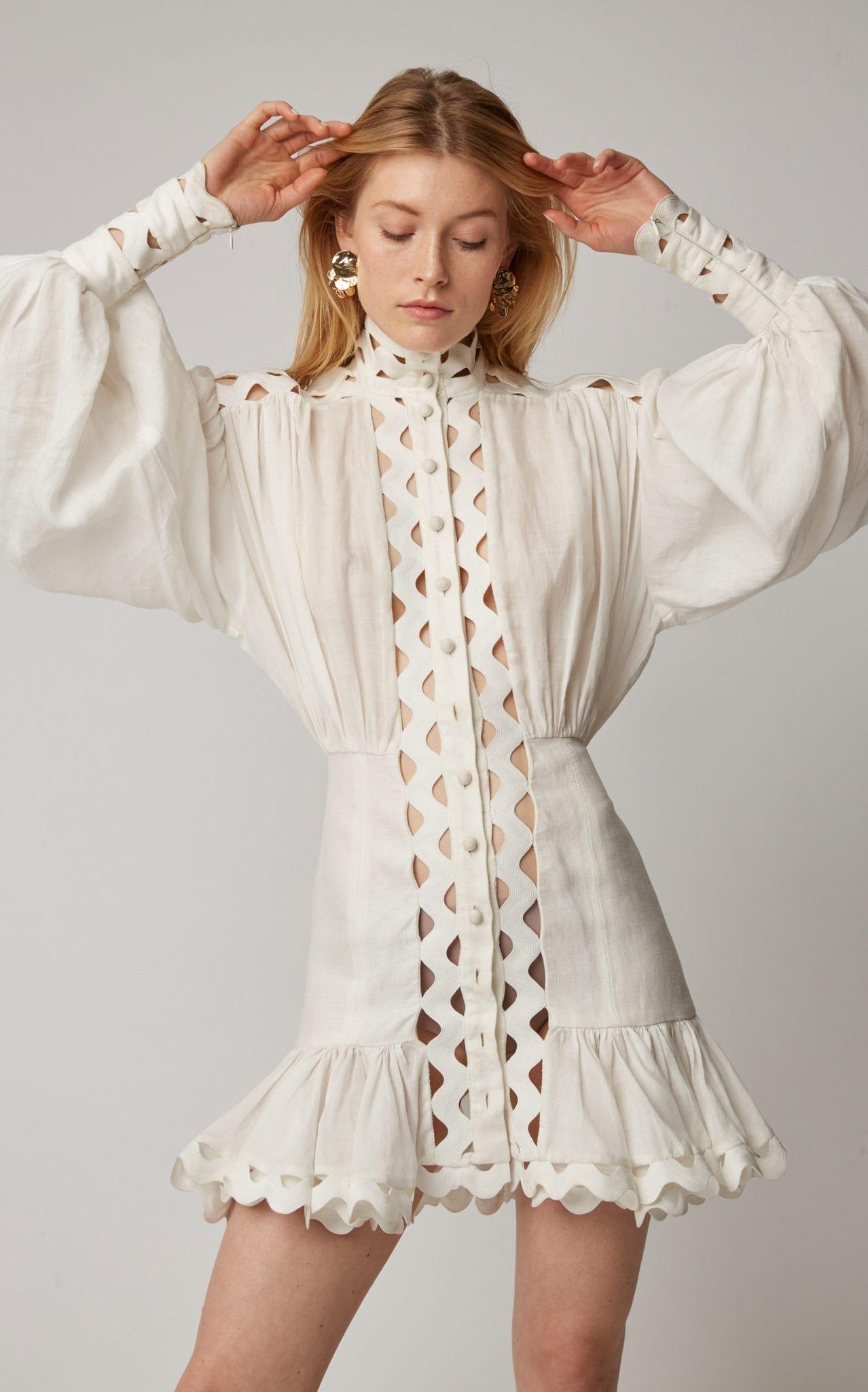 ZIMMERMANN Ninety-Six Linen-Blend Mini White Dress