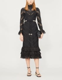 ZIMMERMANN Shell-embellished Ruffled Lace Midi Black Dress