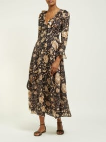 ZIMMERMANN Veneto Floral Printed Linen Brown Dress