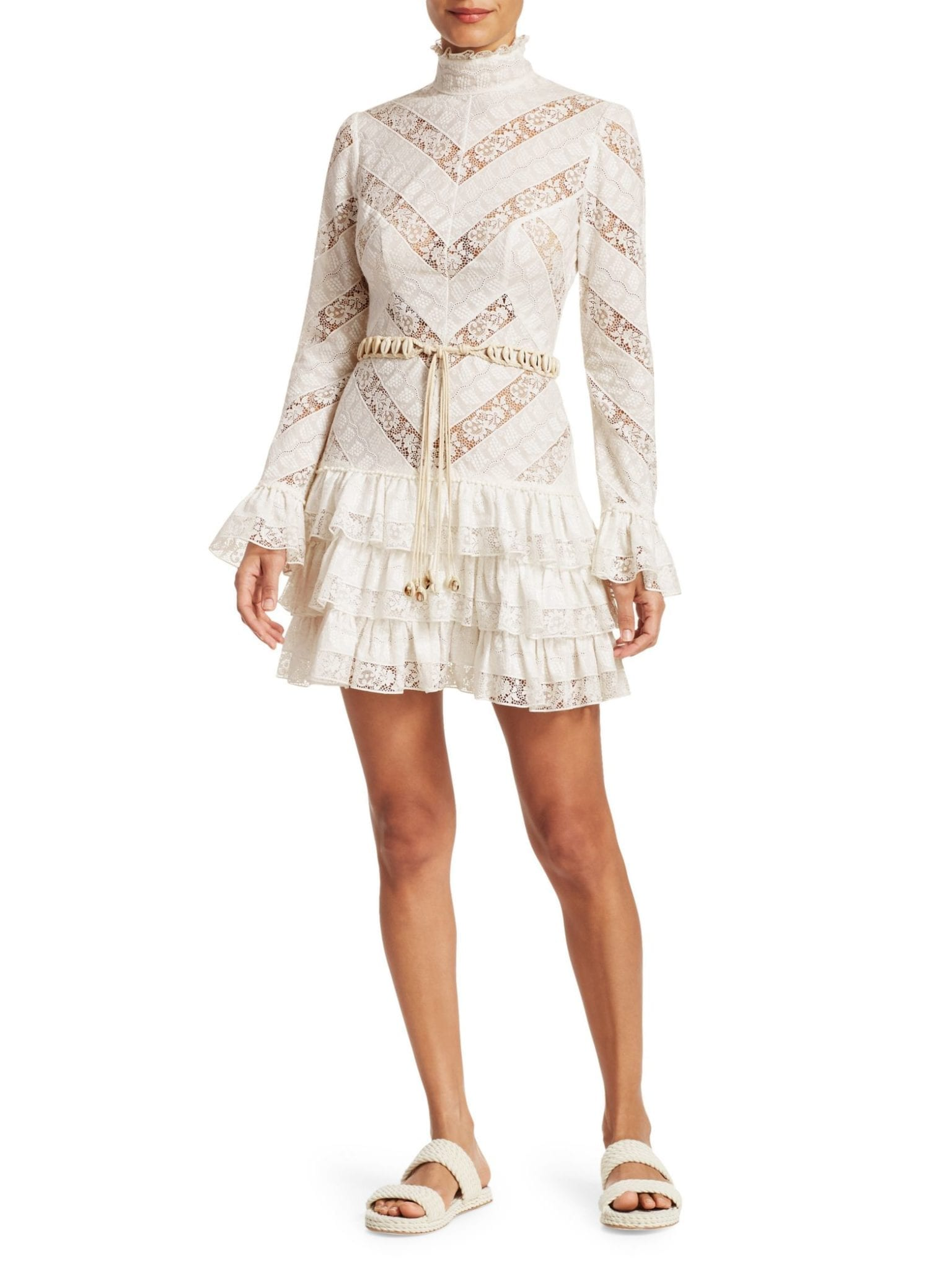 ZIMMERMANN Veneto Perennial Short Lace Ivory Dress
