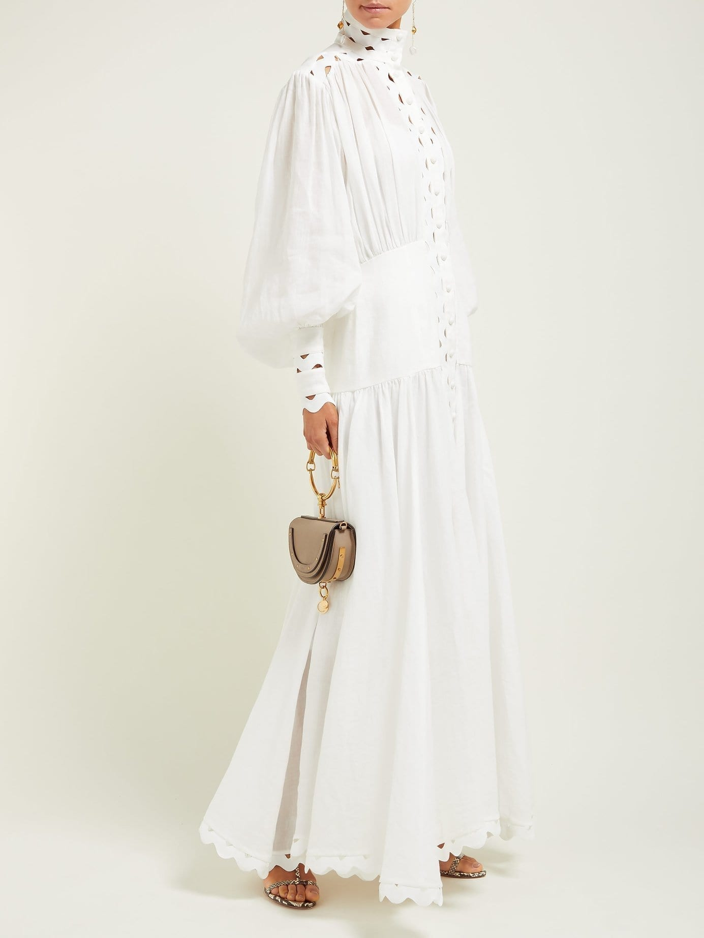 ZIMMERMANN Zippy High-Neck Cut-Out Maxi White Dress