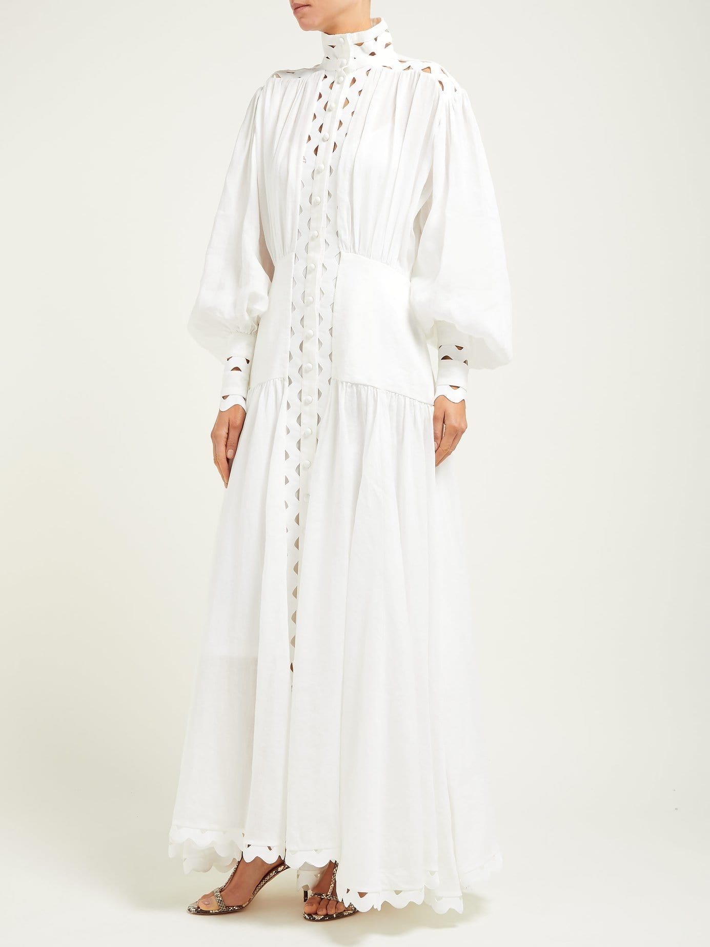 ZIMMERMANN Zippy High-Neck Cut-Out Maxi White Dress