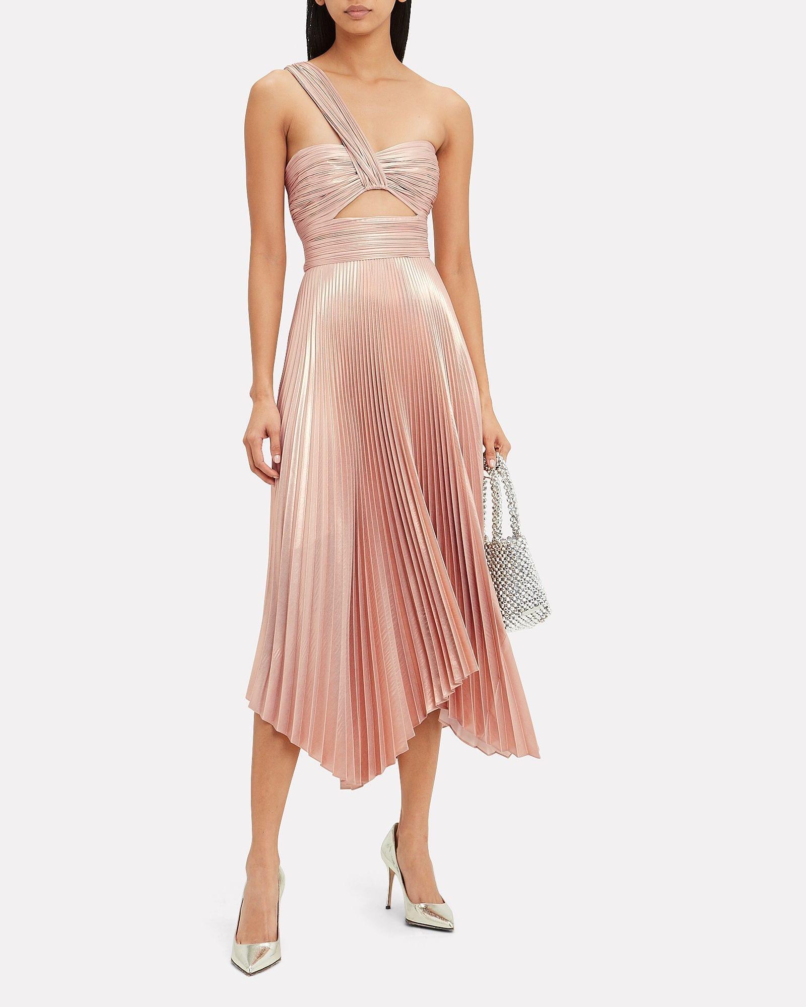 A.L.C. Aurora One Shoulder Metallic Dress