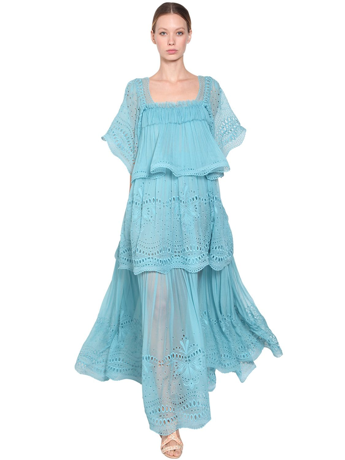 ALBERTA FERRETTI Long Acetate Lace Blue Dress 1