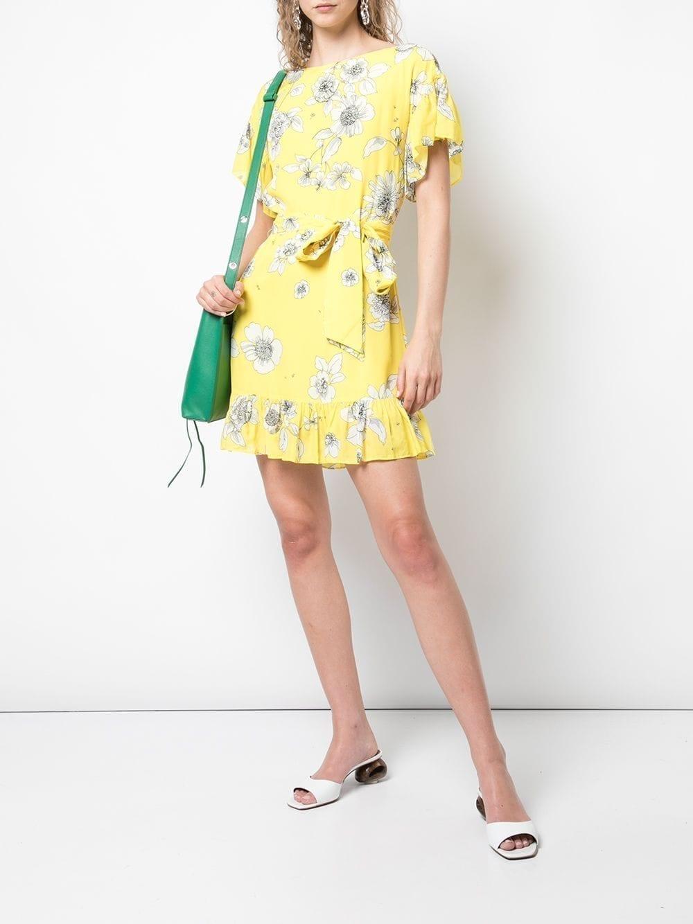 Alice Olivia Ellamae Mini Yellow Dress