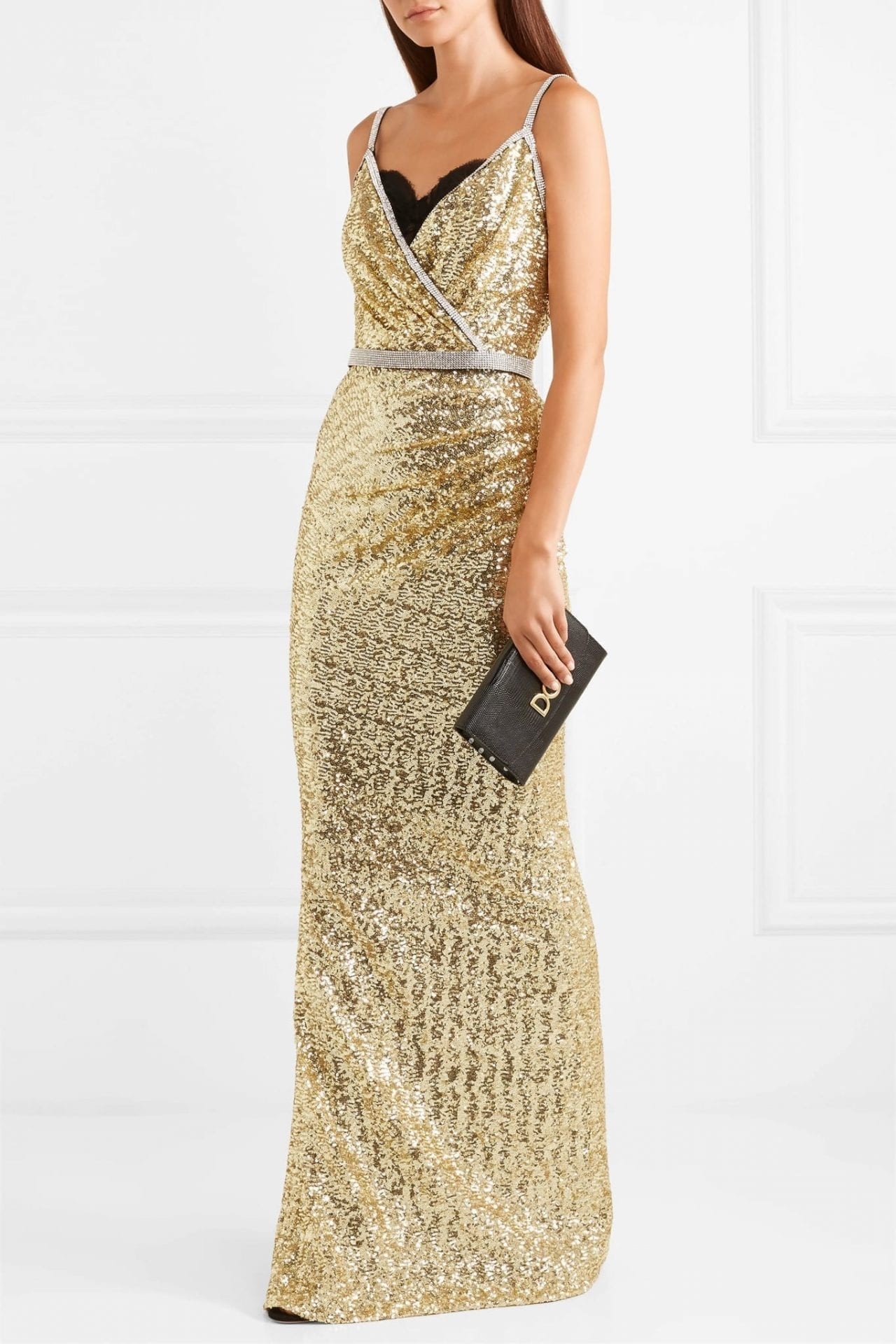 2f37b3c073f DOLCE   GABBANA Crystal-Embellished Sequined Stretch-Satin Gold Gown