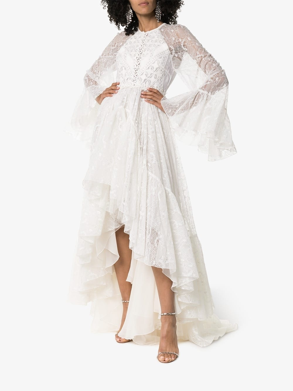 GIAMBATTISTA VALLI Lace Detail Asymmetric Hem Silk Blend White Gown