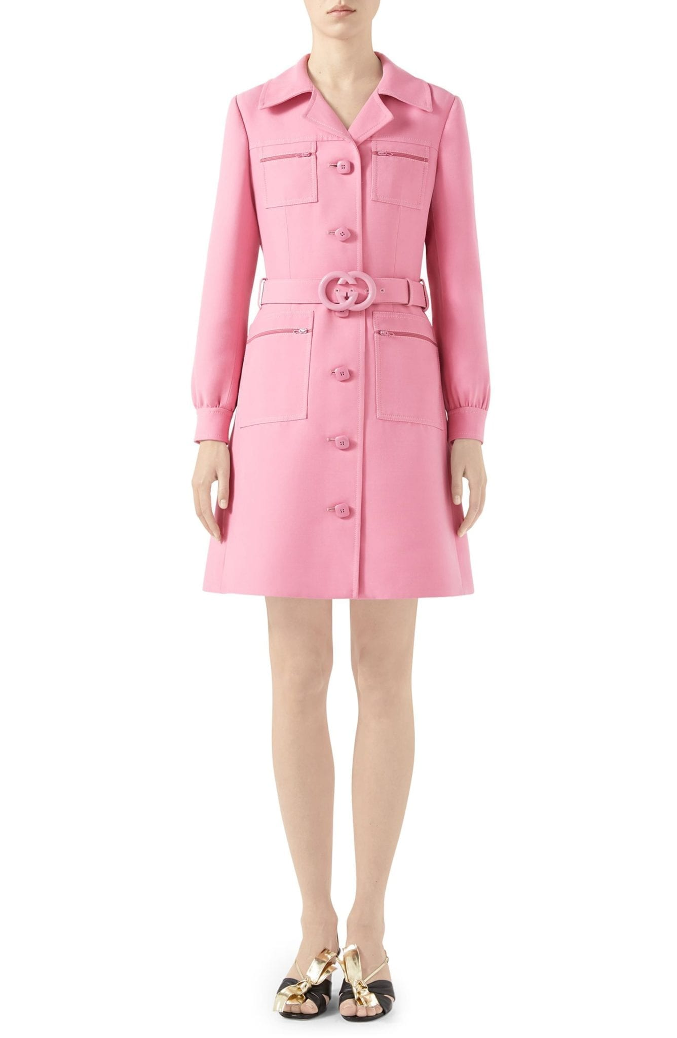 78faae1d9 GUCCI Double G Belted Cady Crepe Coat Pink Mini Dress - We Select ...