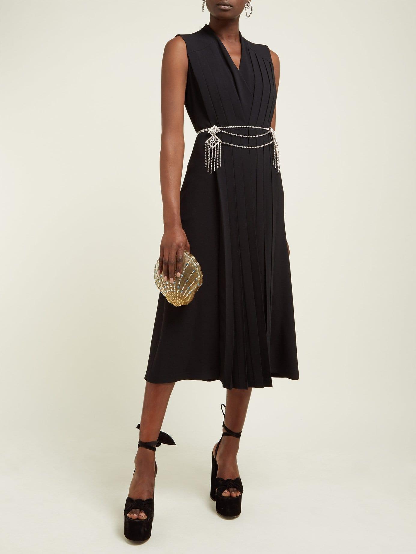 7fbd2d363 GUCCI Crystal Embellished Pleated Cady Midi Black Dress - We Select ...