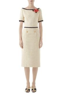 c514a0002 GUCCI Floral Appliqué Bouclé Tweed Midi Sheath Cream Dress