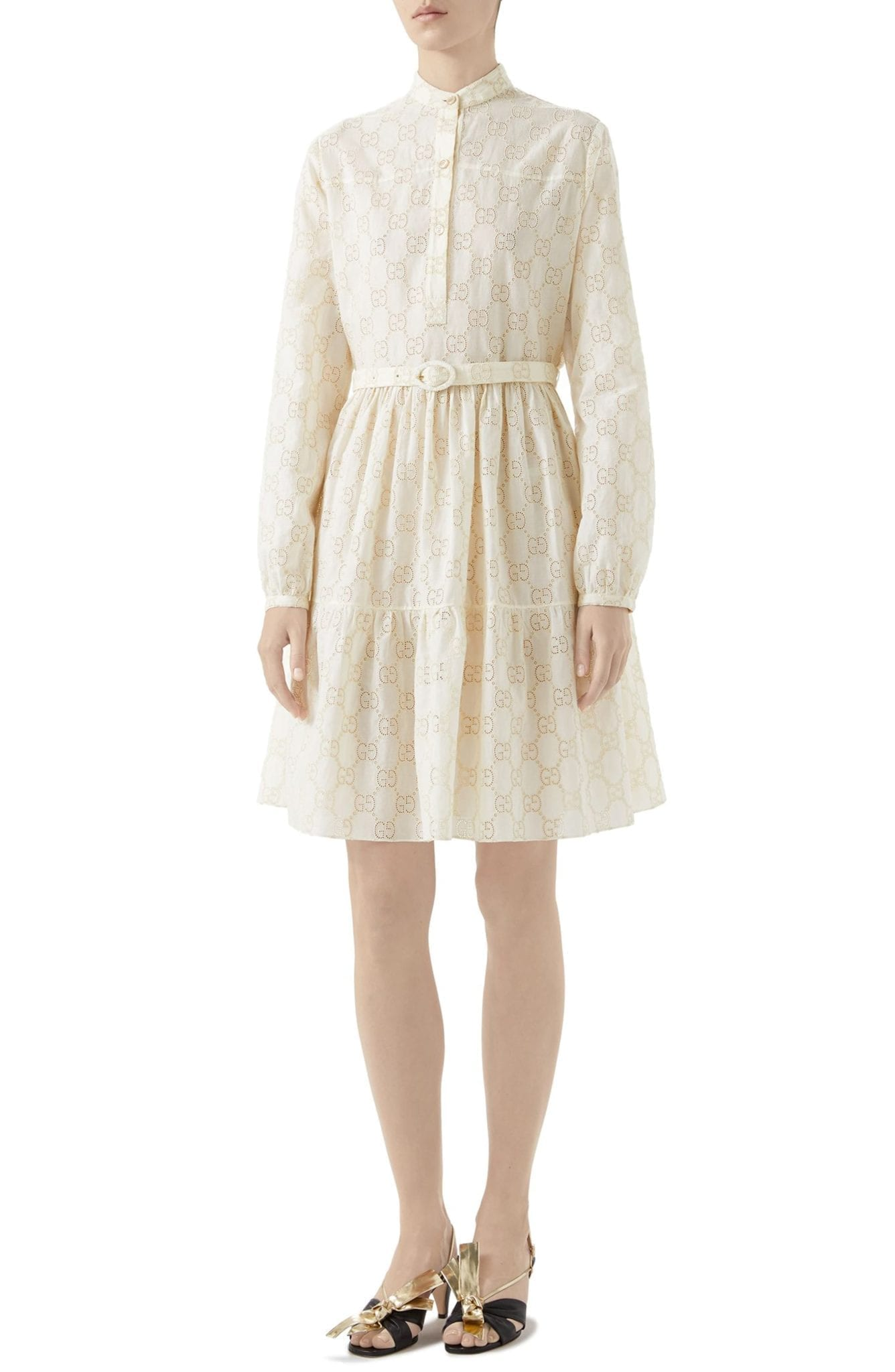 650922181 GUCCI Micro GG Broderie Anglaise Long Sleeve White Dress - We Select ...