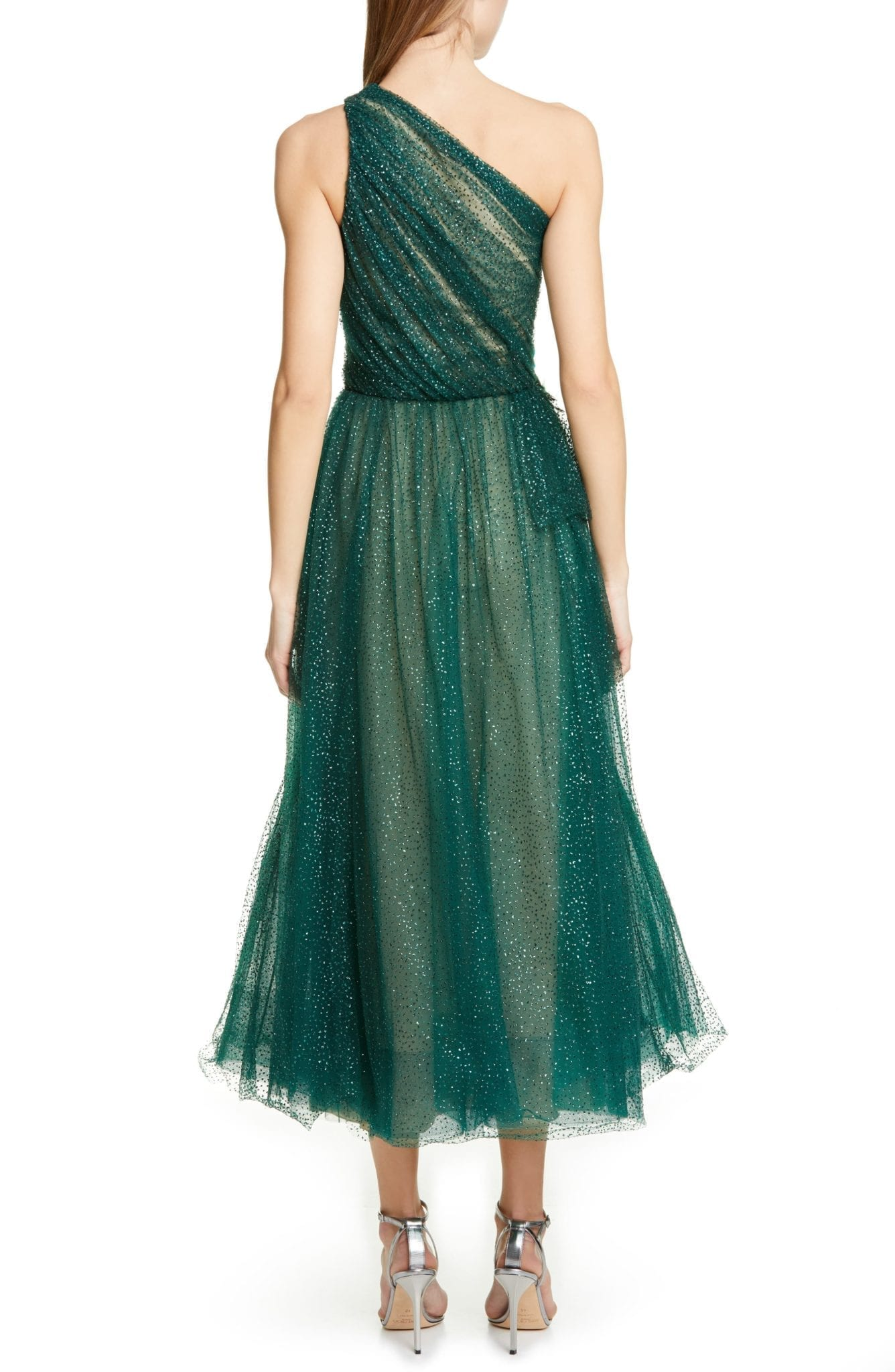 cecfe361 MARCHESA NOTTE Glitter Tulle One-Shoulder Midi Green Dress - We ...