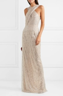 NAEEM KHAN Cutout Crystal-embellished Tulle Beige Gown 1