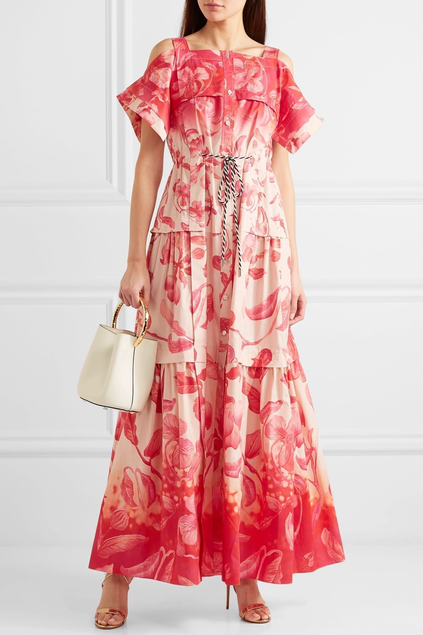 ff57e279cde PETER PILOTTO Cold-Shoulder Tiered Floral-Print Cotton Maxi Pink Dress