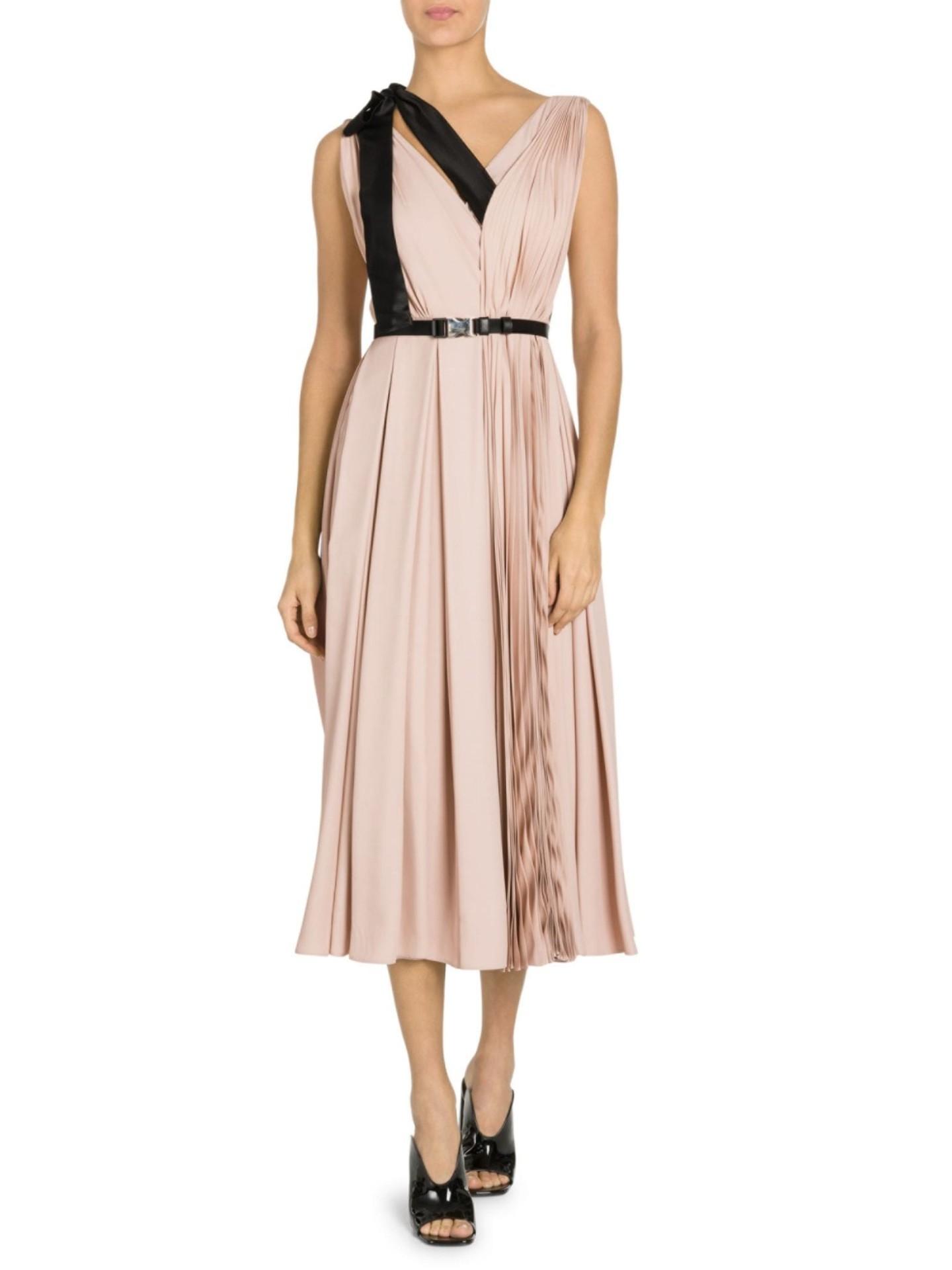 PRADA Ribbon Detail Pleated V-Neck Midi Pink Dress