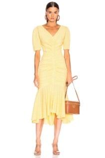 STAUD Panier Yellow Dress